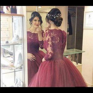 Romantic Burgundy Puffy Ball Gown